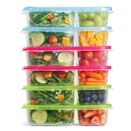 - Fit & Fresh Meal Prep Container Set with Lids, Set of 6, Portion Control, Microwave/Dishwasher/Freezer Safe