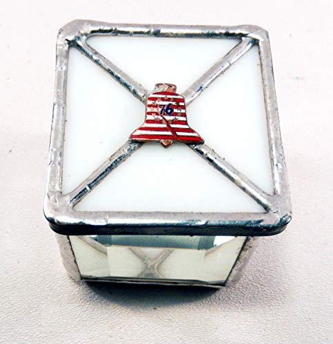 Stained Glass Box with vintage Liberty Bell enameled on copper ()