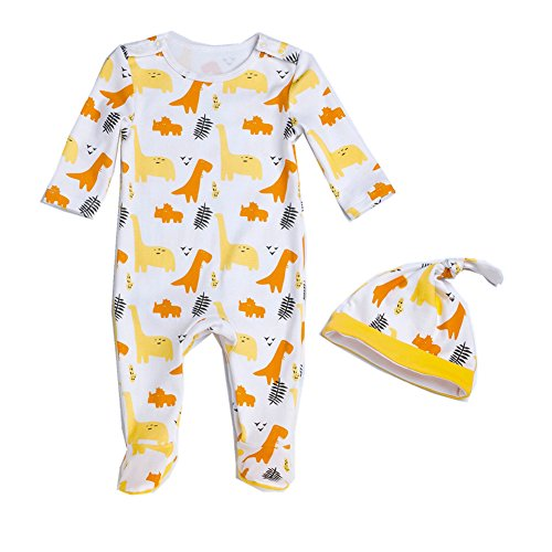 Beide Baby Boys Girls Cotton Dinosaur 2 Piece Footed Sleeper with Cap (color1,3-6m) Yellow ()