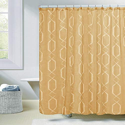 Duck River Textiles - Arcadia Faux Silk Geometric Mildew Resistant Fabric Shower Curtain Liner For Bathroom Waterproof | Water Repellent & Antibacterial - Assorted Colors - (70 X 72 Inch - Amber Curtain