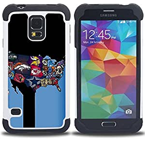 """SAMSUNG Galaxy S5 V / i9600 / SM-G900 - 3 en 1 impreso colorido de Altas Prestaciones PC Funda chaqueta Negro cubierta gel silicona suave (Equipo deportivo EE.UU."""")"""