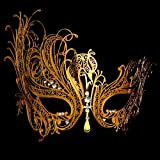 Labu Store GOLD Metal Masquerade Mask GOLD Metal with Rhinestones Venetian Party Ball MASK
