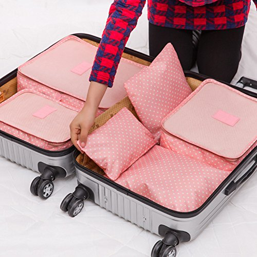 Travel Storage Bag, FAVOLOOK 6pcs/set Women Men Polka Dot Luggage Storage Packages Clothes Tidy Storage Pouch Portable Organizer Case (pink) by FAVOLOOK (Image #1)