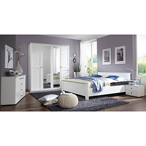 Landhaus Schlafzimmer wei 180cm Bett 180cm Kleiderschrank Nachttische Kommode