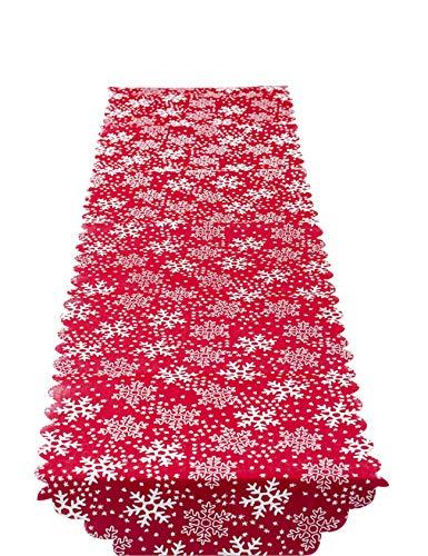 jueshanzj - Bordado Navidad Camino de Mesa Copo de Nieve Blanco 35 * 170