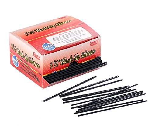Gmark Plastic Stirrer, Sip Stirrer, Drink Stirrer Straws Black, Stir Sticks - Perfect For Coffee and Cocktail Beverage 5-3/4 Inches 2000 pcs (2 Boxes of 1000) - Straws Stir Coffee