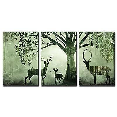 Green Shade Forest Deer - 3 Panel Canvas Art