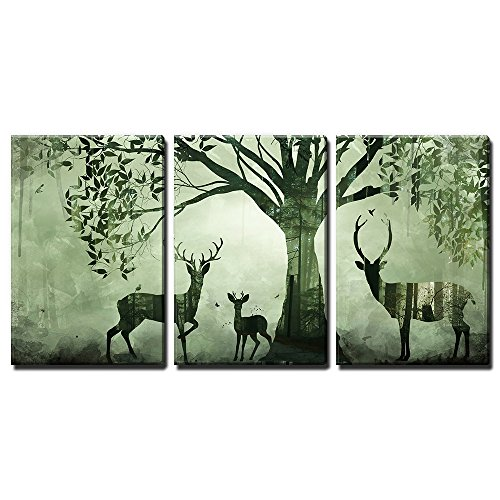 3 Panel Animal Double Exposure Artwork with Deer and the Forest x 3 Panels