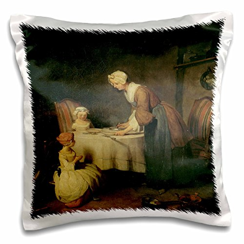 (BLN Paintings of Children Fine Art Collection - Grace Before a Meal, 1744 by Jean-Baptiste-Simeon Chardin - 16x16 inch Pillow Case (pc_169812_1))