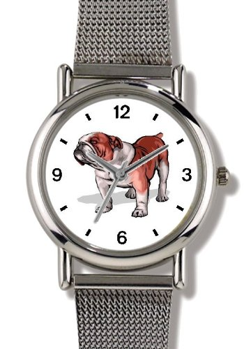 - Bulldog Dog - WATCHBUDDY ELITE Chrome-Plated Metal Alloy Watch with Metal Mesh Strap-Size-Small ( Children's Size - Boy's Size & Girl's Size )