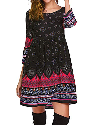 3/4 Jeans Length - Mavis Laven High Waist Boho Dresses for Women with 3/4 Sleeves Black m