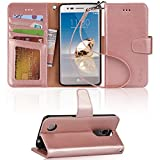 LG Aristo Case, LG Phoenix 3 Case, LG K8 2017 Case, LG Fortune Case, LG Risio 2 Case, LG Rebel 2 LTE Case, Arae LG Aristo wallet Case with Kickstand and Flip cover - Rosegold