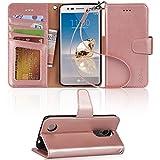 LG Aristo Case, LG Phoenix 3 Case, LG K8 2017 Case, LG Fortune Case, LG Risio 2 Case, LG Rebel 2 LTE Case, Arae Wallet Case with Kickstand and Flip Cover - Rosegold
