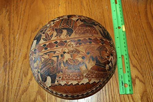 Hand carved Gourd Wall hanging Folk art Vintage Farmers etched 8