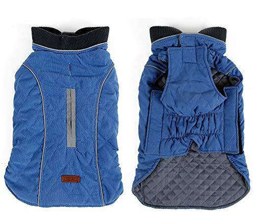 Rantow Reflective Dog Coat Winter Vest Loft Jacket Small Medium Large Dogs Water-Resistant Windproof Snowsuit Cold Weather Pets Apparel, 6 Colors 7 Sizes (XS, Blue)
