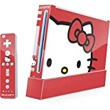Hello Kitty Wii (Includes 1 Controller) Skin - Hello Kitty Cropped Face Red Vinyl Decal Skin For Your Wii (Includes 1 Controller)