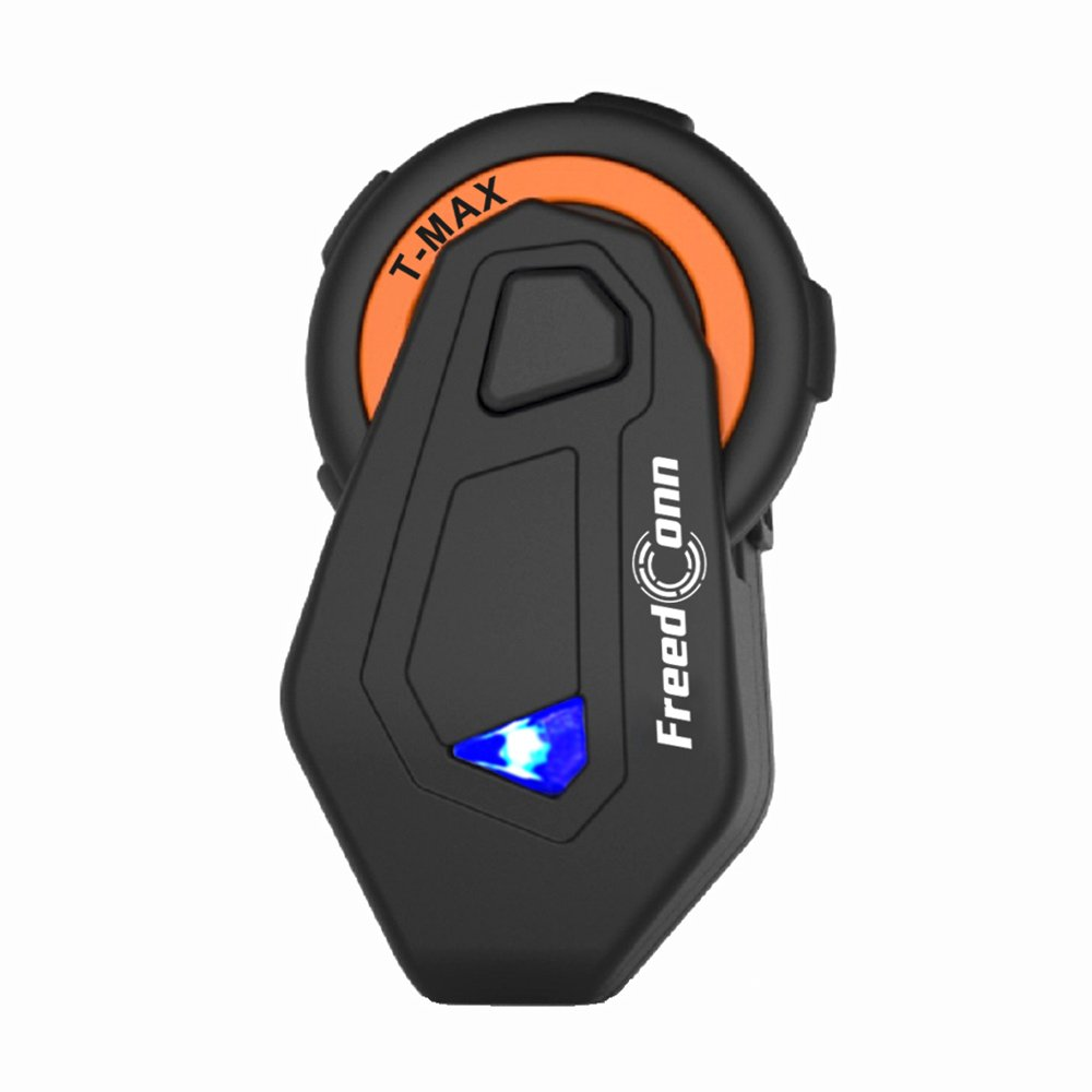 FreedConn T-max Helmet Bluetooth Headset Motorcycle Communication System for 6 Riders Group Intercom for Motorbike Skiing (Range 800m,Waterproof,FM Radio,Voice Prompt,1 Unit)