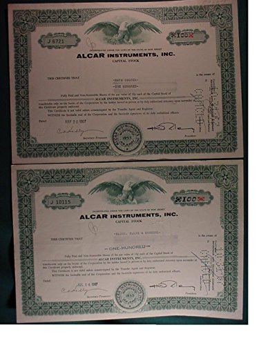 (2 Alcar Instruments, Inc. Cancelled Original Capital Stock Certificates 100 Shares Each Issued 1967)