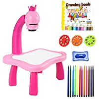 Kids Educational Drawing Art Desk Toddler Multifunctional Development Painting Toy Fun Table Set [US Stock] (Pink)