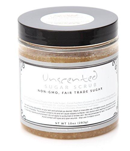 Unscented Sugar Scrub - Non-GMO, Organic, Fair Trade Sugar with Coconut Oil. Made in USA (10 (Handmade Sugar Body Scrub)