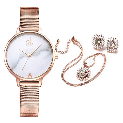 Women Quartz Wrist Watches with Rose Gold Earring and Necklace 3 Sets for Christmas Gifts (0039 Set)