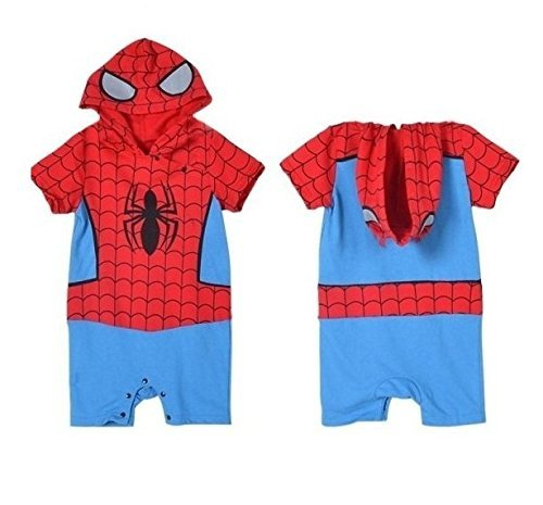 BABY BOY GIRL SUPERMAN BATMAN SUPERGIRL SPIDERMAN BATGIRL BABY GROW FUNKY CUTE FANCY DRESS OUTFIT COSTUME ROMPER SUIT GIFT (6-12 MONTHS, SPIDERMAN) by (2)