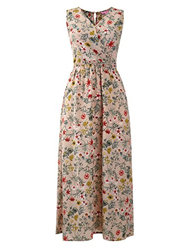 - Regna X Easter Beach Boho Summer Floral Printed Maxi Dresses for Women Ivory S