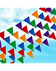 Joykey Multi-color Bunting Flags 100M Nylon Bunting Banner Braided String Pennant Banner for Wedding Birthday Party Outdoor Garden Decoration, 200 Triangle Flags …