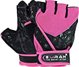 EMRAH Gym Weight Lifting Gloves Women Workout Fitness Ladies Bodybuilding Crossfit Breathable Powerlifting Wrist Support Strength Training Exercise (Pink, L (Fits 7.36-8.26 Inches)