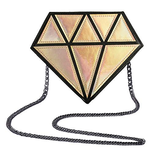 Myathle Hologram Diamond Small Shoulder Bags PU Leather Crossbody Chain Bag for Womens (Golden)