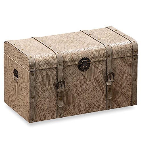 The Tribeca Steamer Trunk, Treasure Chest, Storage Box, Beige, Woven Faux Leather, Stitched Studded Straps, 19 L x 9 ¾ W x 11 H By Whole House Worlds - Steamer Storage Trunk