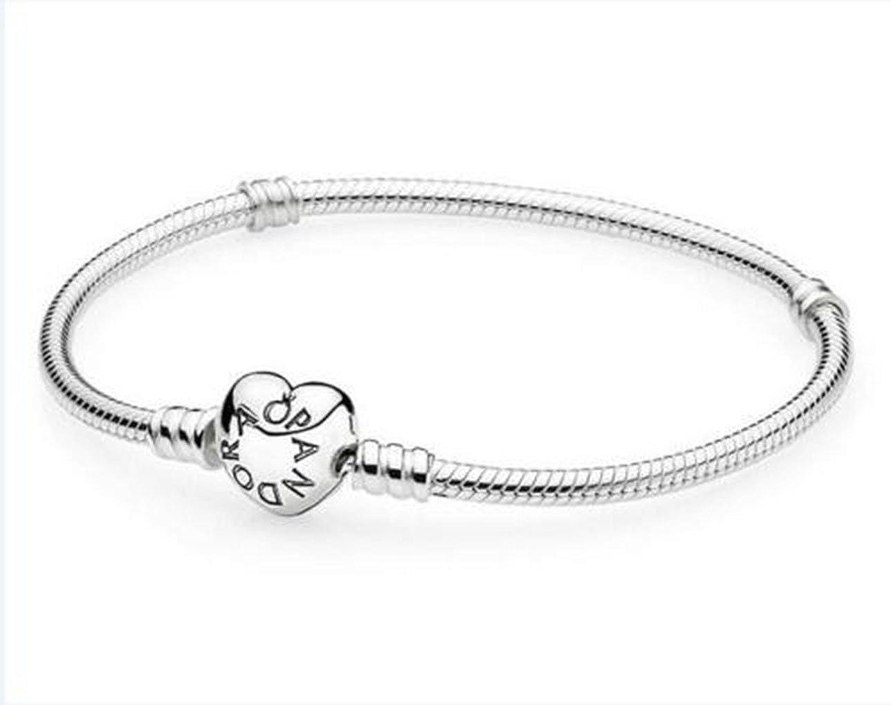 Lily-Li Fashion Heart-Shaped Popular Small P Heart-Shaped Button Adult Childrens Bracelet Heart Heart Button Silver Plated DIY Basic Snake Bone Bracelet