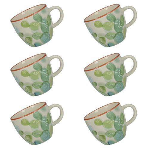Creative Tops Drift Cactus-Patterned Ceramic Espresso Cups, 100 ml - Green/White (Set of 6)