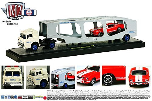 1964 FORD C-950 (WHITE) & 1966 Shelby GT350 (RED) * Auto-Haulers Release 15 * M2 Machines 2015 Castline Premium Edition 1:64 Scale Die-Cast Vehicle Truck & Set (15-02)