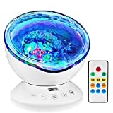 GRDE Ocean Wave Night Light Projector Sleep Sound Machine with Remote, Music Player