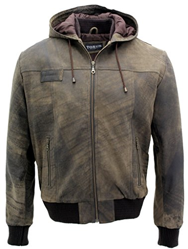 Infinity Men's Casual Brown Suede Zip Up Leather Hooded B...