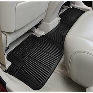 Zone Tech - Car Vehicle Floor Mat - Universal Fit,All-Weather Rubber Material, Black Color