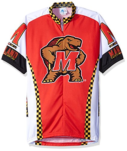 Jersey Cycling Maryland - NCAA Adrenaline Promotions Maryland Cycling Jersey,Large(red/white)