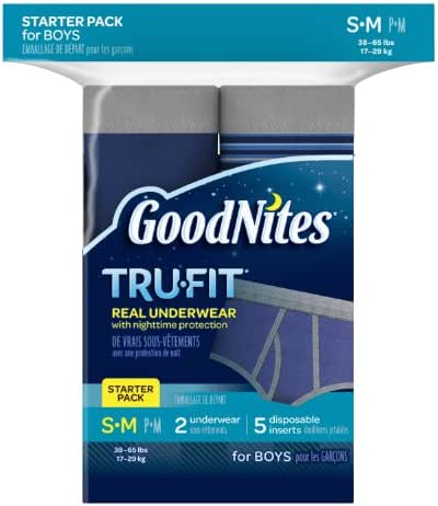 GoodNites Tru-Fit Real Underwear with Nighttime Protection Starter Pack for Boys, Size Small and Medium, 2-Underwear, 5-Disposable Inserts