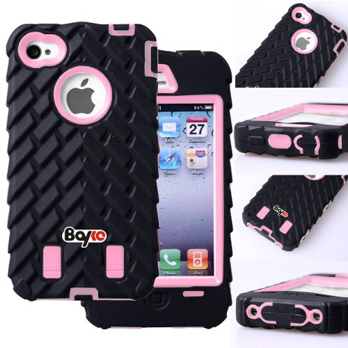 Bayke Brand / iPhone 4 iPhone 4S 3-Piece Dual Layer Armor Skidproof High Impact 3in1 Rubber Soles Armored Vehicle Tire Stripe Combo Hybrid Defender Body Armorbox Hard Pc & silicone Case Cover (without Built-in Screen Protector) (Tire / Baby Pink) (Pink Mossy Oak Tire Cover compare prices)
