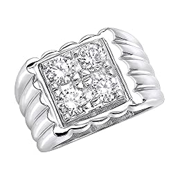 Men's Platinum 1.6ctw Diamond Ring G-H Color VS2-SI1 Clarity