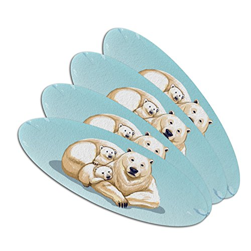Polar Bear Mom with Cubs Family Double-Sided Oval Nail File Emery Board Set 4 Pack