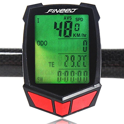Bike Computer,Fineed Wireless Bicycle Speedometer,Waterproof Cycling Odometer Large LCD Screen Display Multi Function