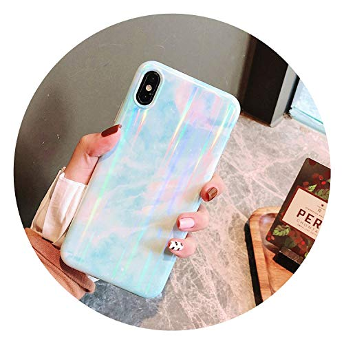 Luxury Laser Glossy Kickstand Holder Marble Phone Case for iPhone 7 8 Plus X 6 S Plus Soft Silicone Case for iPhone XR XS Max,Color B,for iPhone XR