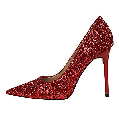 AalarDom Femme Couleur Unie à Talon Correct Pointu Tire Chaussures Légeresavec Paillette Rouge DEq4v
