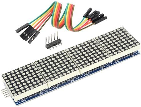 HiLetgo MAX7219 LED Dot Matrix Module LED Dot Matrix Microcontroller for Arduino 4 in 1 LED Display with Dupont Wires