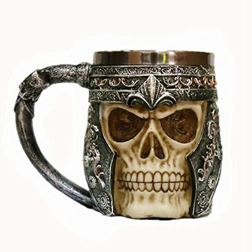 (Ossuary Style Medieval Roman Wine Chalice Cup Mystical Fantasy Resin Body Stainless Steel Beer Stein Tankard Mug Cup (Helmet Mug))
