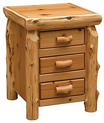 Fireside Lodge Furniture Cedar Hand Crafted Cedar Log Three Sliding Drawers Free Standing Nightstand With Half Log Drawer Front, Traditional Cedar