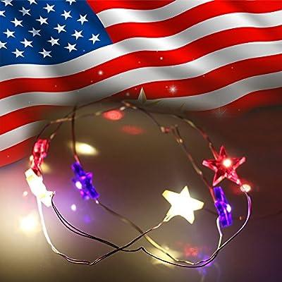 String Lights, Amyhomie Led Christmas Light Patriotic Star Sting Light, Red/White/Blue Party Lights 4.1m/13.45ft <2pcs/set>