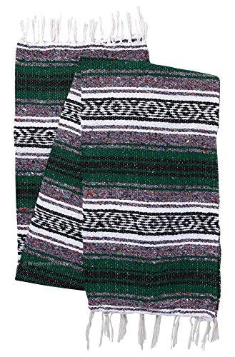 El Paso Designs Genuine Mexican Falsa Blanket - Yoga Studio Blanket, Colorful, Soft Woven Serape Imported from Mexico (Green) from El Paso Designs